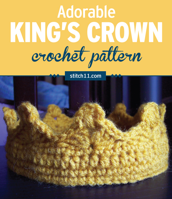 This King's Crown crochet pattern is for all of our little Kings who like to be in charge of the castle. This kings crown should fit small children and even big kids!  #crochet #crochetlove #crochetaddict #crochetpattern #crochetinspiration #ilovecrochet #crochetgifts #crochet365 #addictedtocrochet #yarnaddict #yarnlove