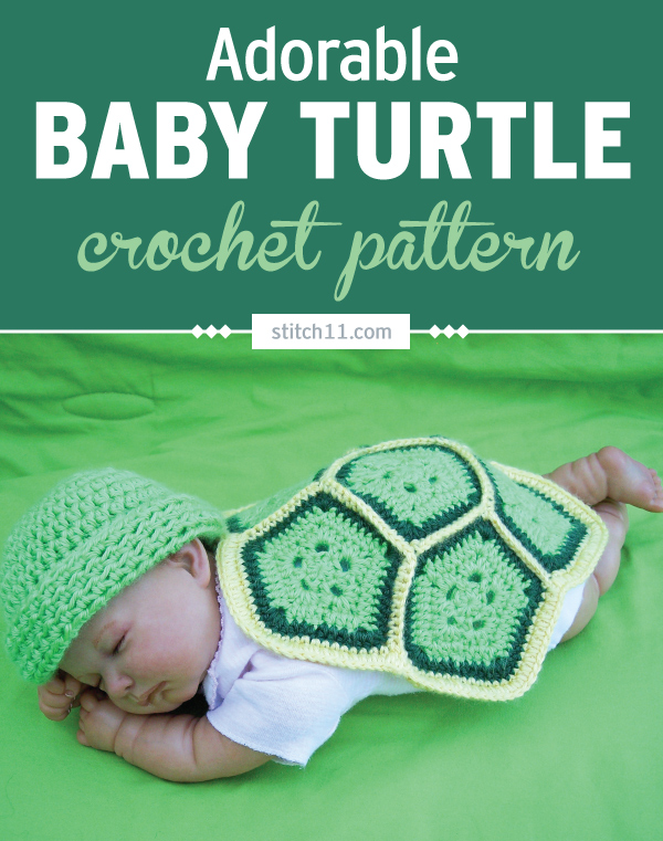 This Newborn/Preemie adorable baby turtle photo prop is easy to make and are just 6 crochet pentagons stitched together. An adorable photo prop for a sweet baby. This will look perfect paired with a matching beanie. #crochet #crochetlove #crochetlife #crochetaddict #crochetpattern #crochetinspiration #crochetgoodness