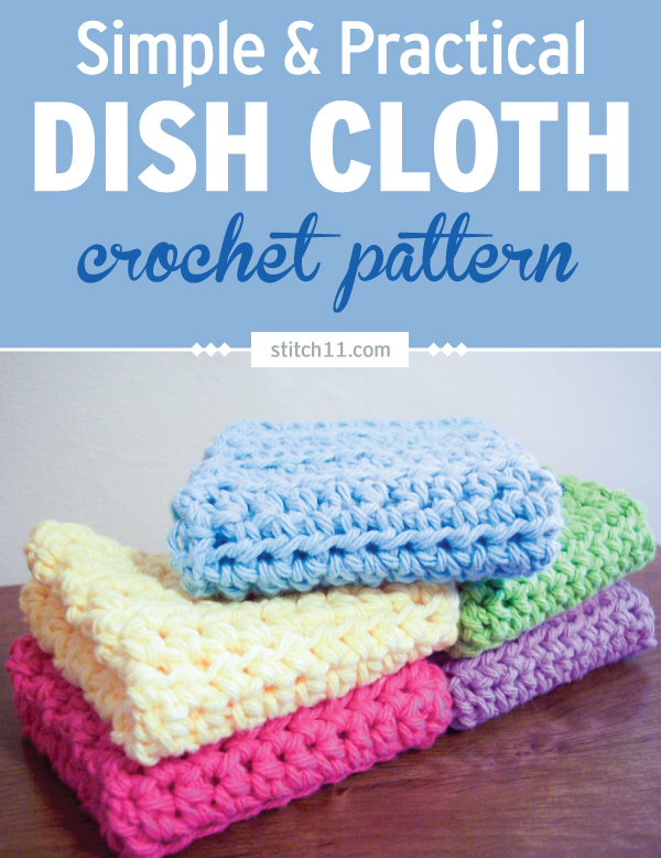 This Simple Crochet Dish Cloth is very easy to make and perfect for cleaning. You can even use it as a washcloth depending on your yarn choice. It's a great scrap buster. If you have a ton of scrap yarn, you can whip a bunch of these in no time. Stash them for future use or make them as practical gifts. #crochet #crochetlove #crochetlife #crochetaddict #crochetpattern #crochetinspiration #crochetgoodness #ilovecrochet #crochetgifts #crochet365 #addictedtocrochet #yarnaddict #yarnlove