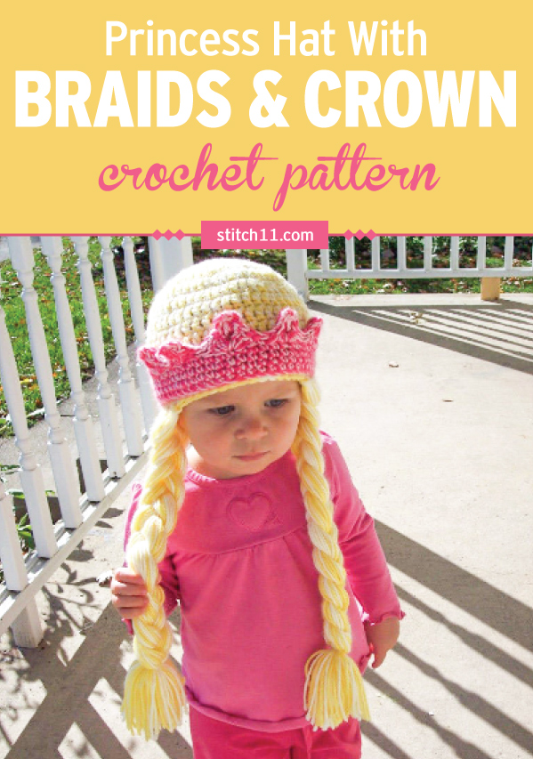 This Princess Crown with Braids crochet pattern is an adorable hat that fits right in with a princess costume. Perfect for costume parties, Halloween, or whenever your little one feels like wearing it. This crochet pattern is best suited for toddlers and is a hat with long braids attached to the sides or the head. #crochet #crochetlove #crochetlife #crochetaddict #crochetpattern #crochetinspiration #ilovecrochet #crochetgifts #crochet365 #addictedtocrochet #yarnaddict #yarnlove