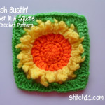 Sunflower In A Square  Free Crochet Pattern