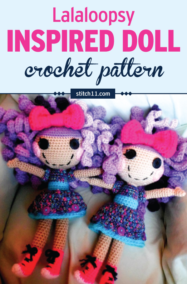 Lalaloopsy inspired doll crochet pattern. Easy to love and adorably cute! Make a very special doll for your child or as a gift that is sure to be cherished. #crochet #crochetlove #crochetlife #crochetaddict #crochetpattern #crochetdoll #ilovecrochet #crochetgifts #crochet365 #addictedtocrochet #yarnaddict #yarnlove