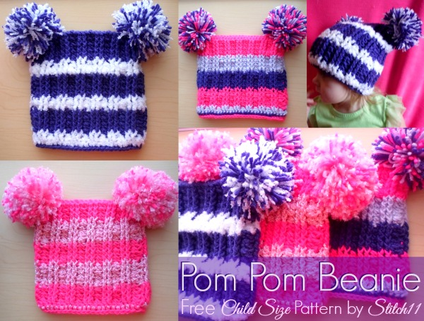Child Size Pom Pom Beanie Stitch11