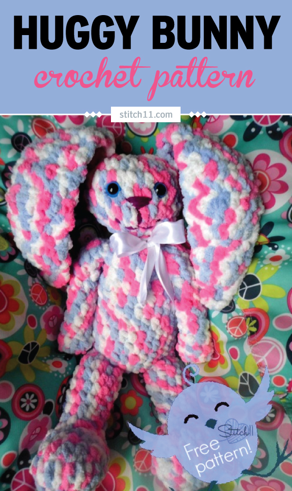 Huggy Bunny Crochet Pattern. She works up quick since she calls for Bernat Baby Blanket yarn. She measures 15 inches from the bottom of her feet to the top of her head. Extremely huggable! #crochet #crochetlove #crochetlife #crochetaddict #crochetpattern #crochetinspiration #crochetgoodness #ilovecrochet #crochetgifts #crochet365 #addictedtocrochet #yarnaddict #yarnlove