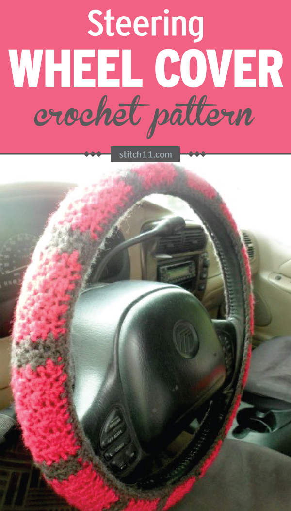 This Steering Wheel Cover crochet pattern will fit a wheel that's 47 inches around the outside with 4 inches in girth. You will need to adjust depending on the size of the steering wheel. #crochet #crochetlove #crochetlife #crochetaddict #crochetpattern #crochetinspiration #ilovecrochet #crochetgifts #crochet365 #addictedtocrochet #yarnaddict #yarnlove