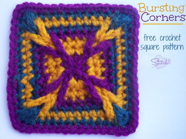 Bursting Corners - Free crochet square pattern