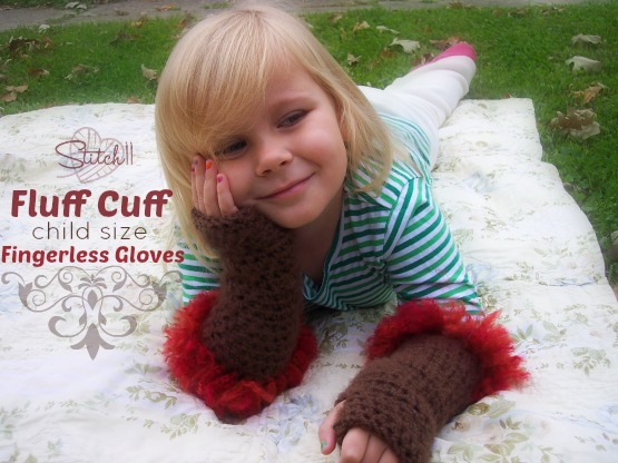 Fluff Cuff - Child Size Fingerless Gloves - Free Crochet Pattern