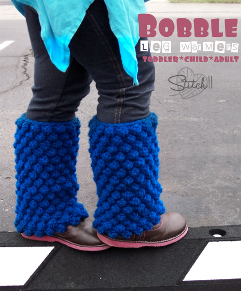 Bobble Leg Warmers Toddler Child And Adult Sizes Stitch11