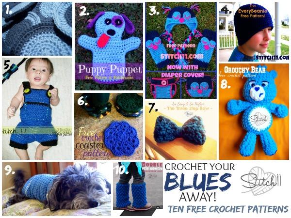 Crochet Your Blues Away - Ten Free Crochet Patterns