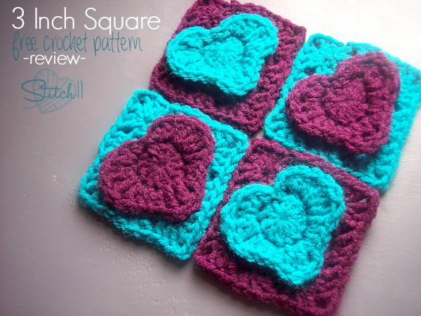 3 inch crochet square - free crochet pattern - review