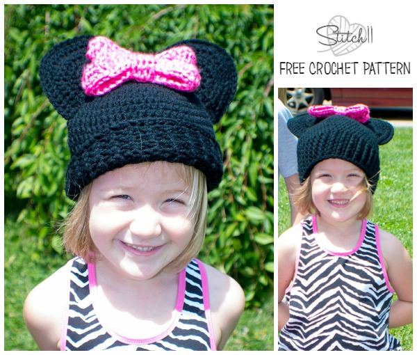 Minnie Mouse Hat - Free Crochet Pattern - Preschool and child-teensmall adult sizes