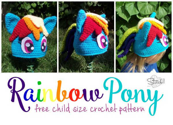 Rainbow Pony - Free Child Size Crochet Pattern