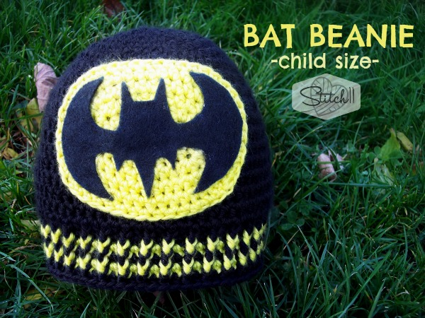 Bat Beanie - Child Size - Free Crochet Pattern by Stitch11