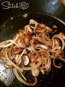 saute mushrooms and onions