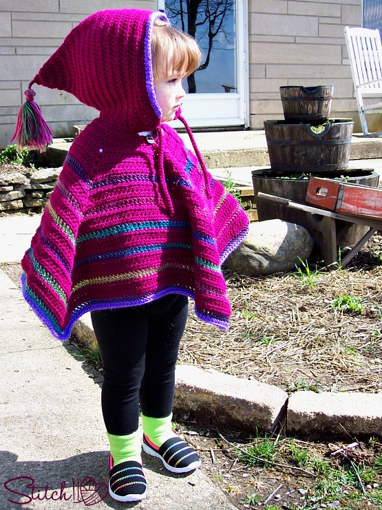 Toddler Hooded Poncho Stitch11