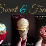Sweet and Free crochet patterns. Cupcake, ice cream, and donut.