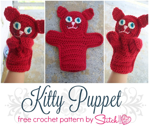 Kitty Puppet - Free Crochet Pattern- Design by Stitch11