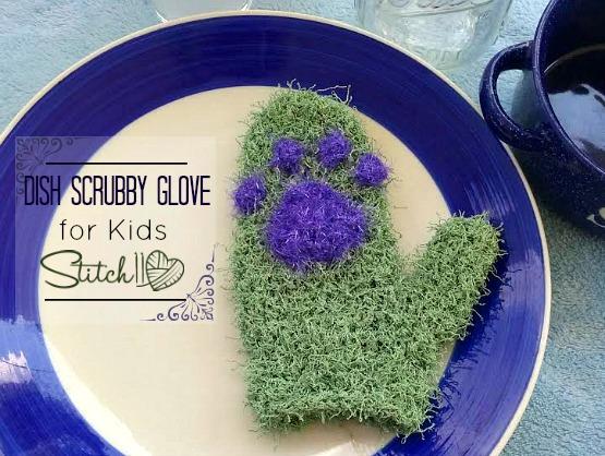 Dish Scrubby Glove - for kids - free crochet pattern