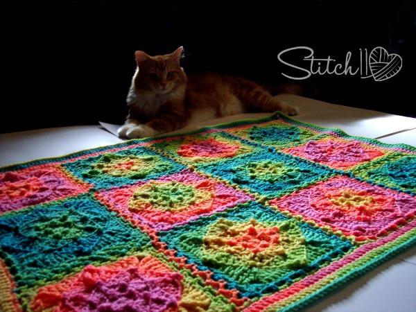 king leo - stitch11 - redheart retro stripes- Illusion Baby Blanket