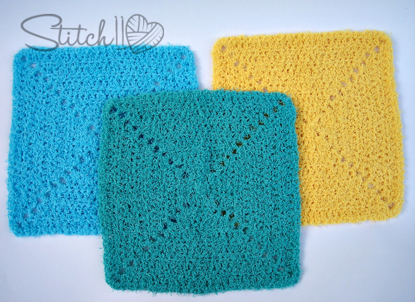 Simple Scrubby Square Dish Cloth by Stitch11 - Free Crochet Pattern