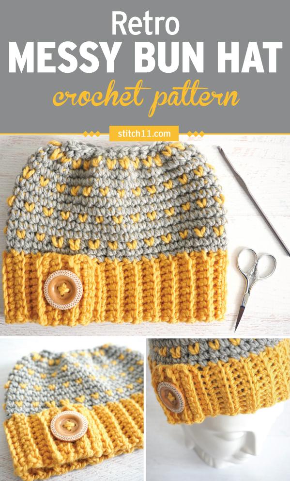 Retro Messy Bun Hat #crochethat #crochetpattern #freecrochet #crochetmessybun #crochetlove