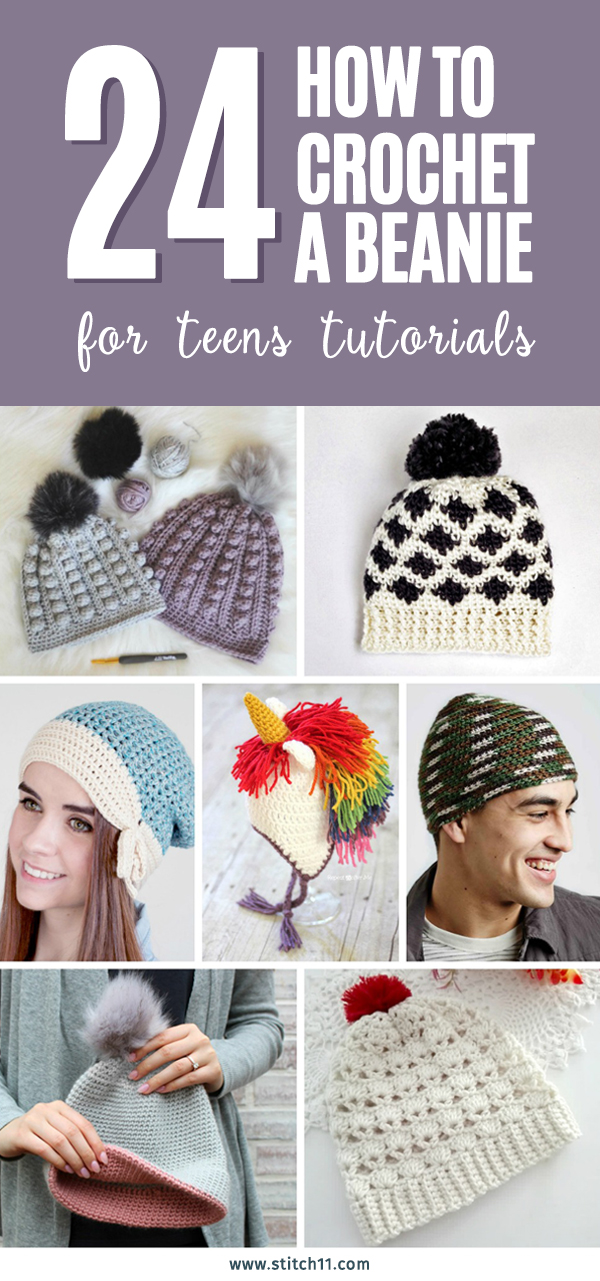24 How to Crochet a Beanie for Teens Tutorials #crochethat #crochetbeanies #crochetslouchie #crochetpatterns