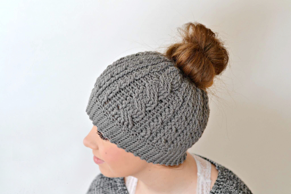Cabled Messy Bun Hat Crochet Pattern