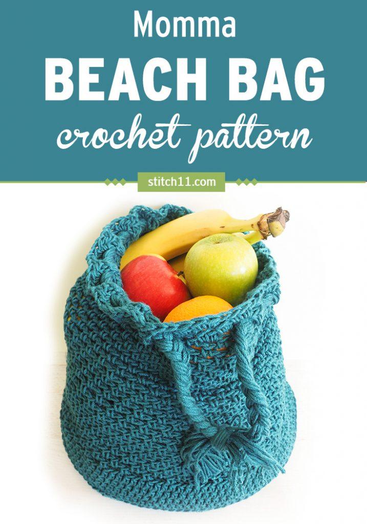 Momma Beach Bag Crochet Pattern #crochetbag #crochetbeachbag #crochetlove #crochetaddict