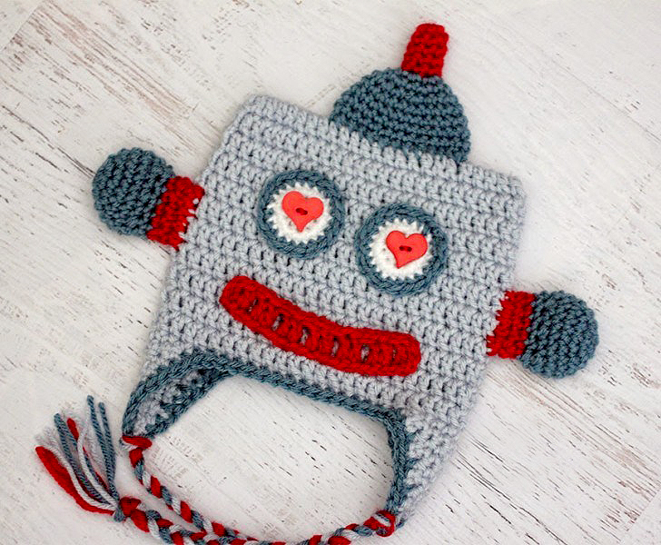 Lovebot Robot Hat Crochet Pattern