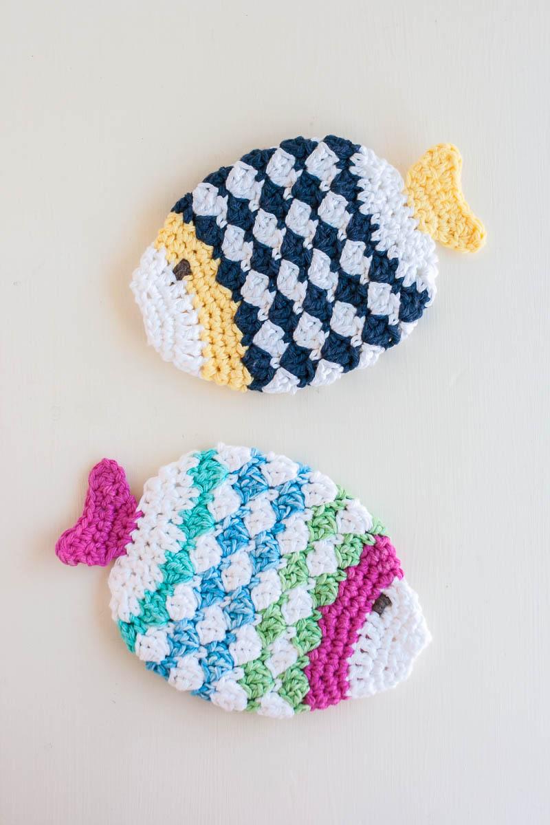 Fish Scrubbie Crochet Washcloths