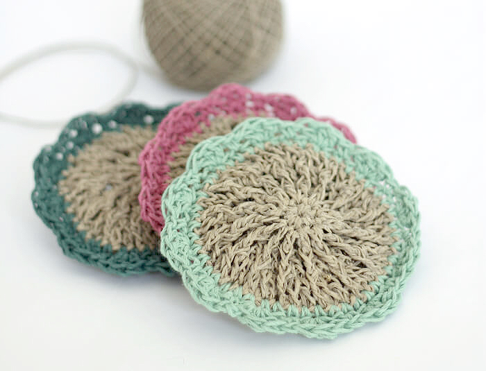 Flowery Hemp Crochet Scrubbies
