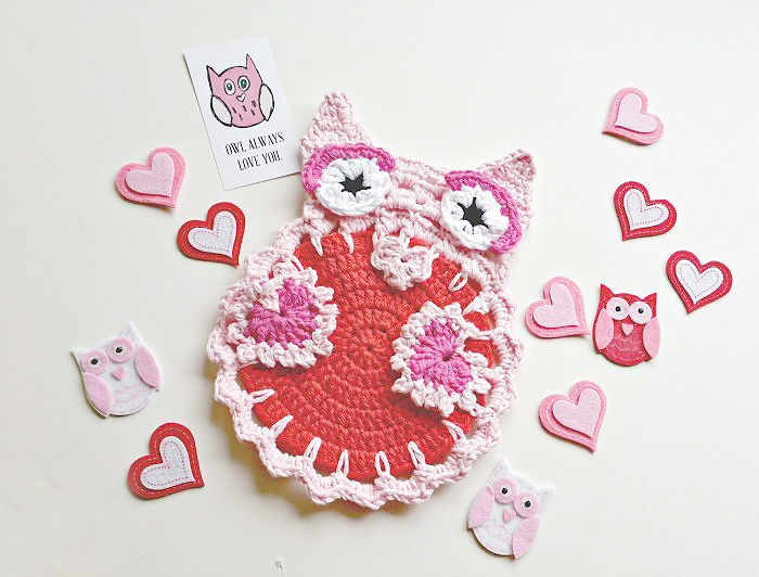 Owl Always Love You Crochet Dishcloth