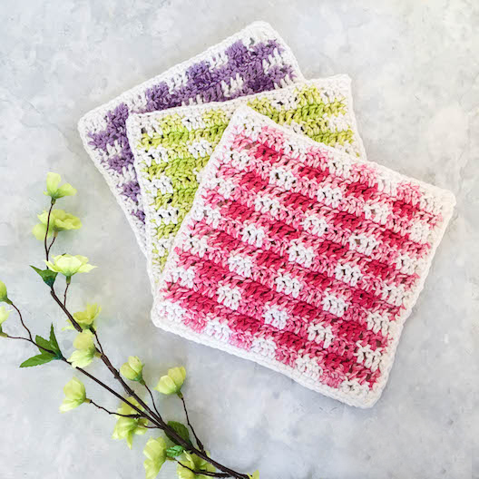 Spring Gingham Dishcloths Crochet