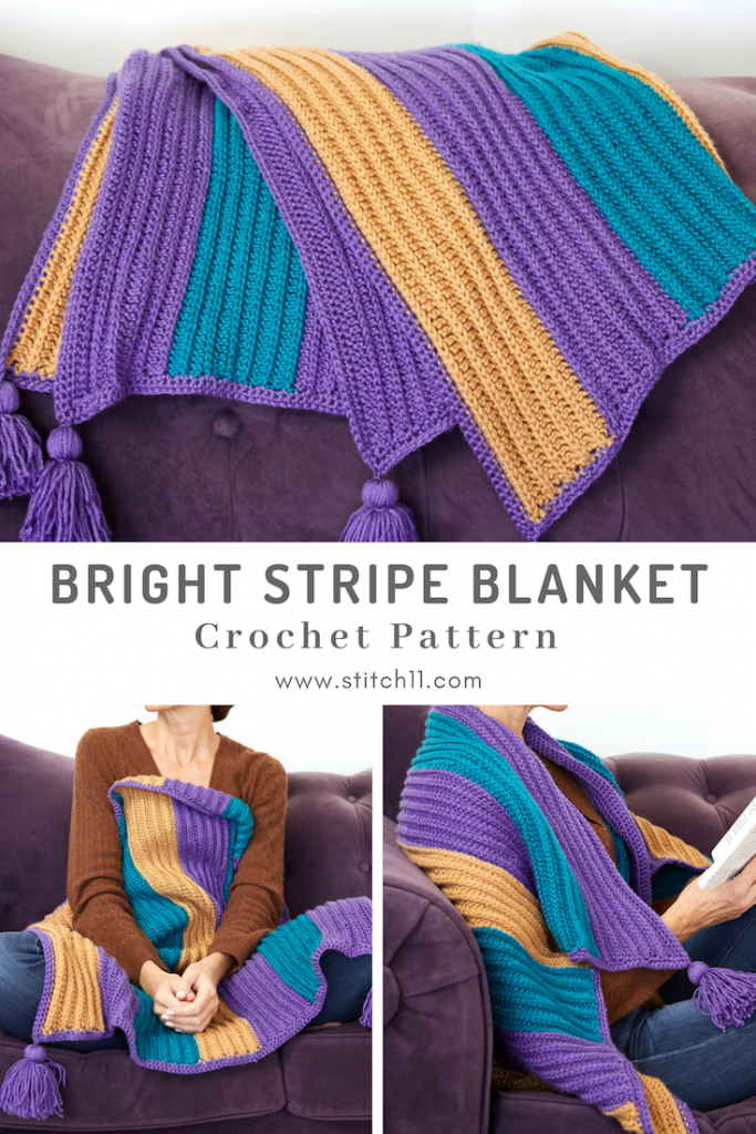 The Bright Stripe Blanket is one of a kind with its vibrant stripes and decorative tassels, you're sure to have some fun adventures if you take this blanket along. #crochetblanket #crochetafghan #crochetpattern #crochetlove #crochetaddict
