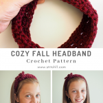 The Cozy Fall Headband is crocheted as one long piece that can be tied and untied each time you wear it. #crochetheadband #crochetpattern #crochetlove #crochetaddict