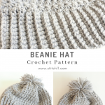 This Beanie Hat is a modern and bold Christmas present for someone challenging to shop for. #crochethat #crochetbeanie #crochetpattern #crochetlove #crochetaddict