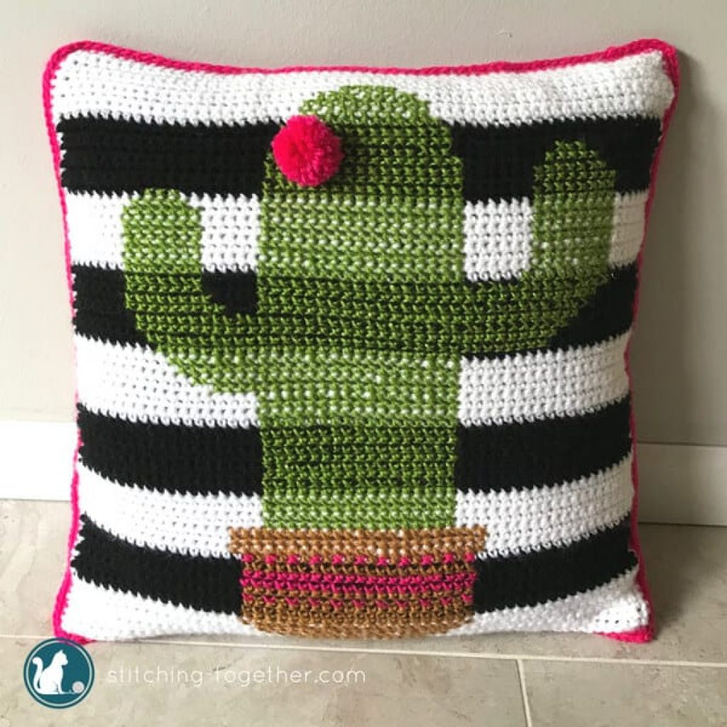 Crochet Cactus Pillow