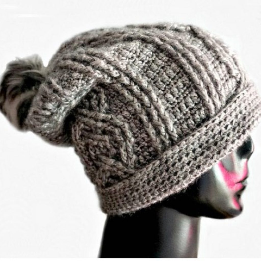 Eternal Cable Hat - If you're looking for a crochet hat pattern that suits your needs and looks great on everyone, the crochet slouchy hat is perfect for you. #crochethatpattern #crochetslouchyhat #crochetpattern #crochetslouchbeanie