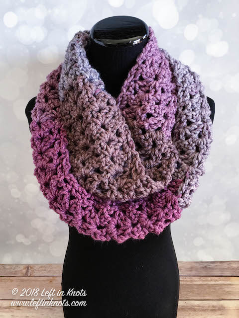 Frosted Berry Infinity Scarf - If you're just learning how to crochet, a crochet infinity scarf will be your best friend. Take advantage of this and make one for the people you love. #CrochetInfinityScarf #ScarfCrochetPatterns #CrochetPatterns