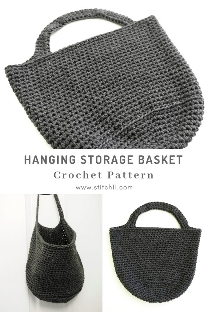These hanging storage baskets hang on the wall so they don't take up space on your floor. This crochet basket is very minimalist in style. #CrochetBasket #CrochetBasketPattern #FreeCrochetPattern