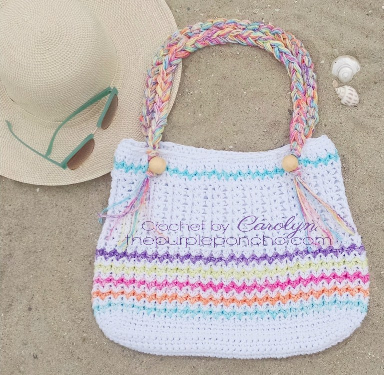 Beach Day Tote Bag - Are you ready for the best crochet bag patterns out there? This list has 18 fun summer bags and they're all free crochet patterns! #CrochetBagPatterns #EasyBagPatterns #FreeCrochetPatterns