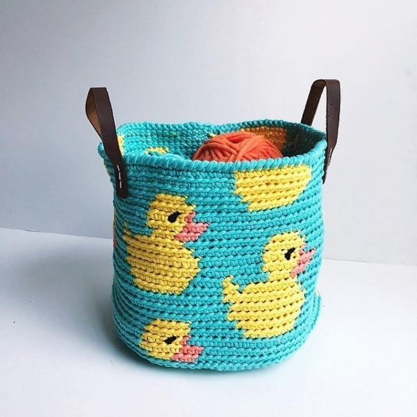 Rubber Ducky Basket - Tapestry crochet patterns are really unique. Try your hand at making these and see if you don't fall in love with the crochet tapestry. #TapestryCrochetPatterns #CrochetPatterns #FreeCrochetPatterns