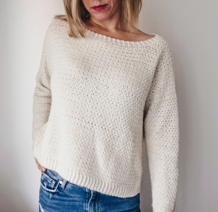 Farrow Sweater Crochet - These 16 super easy crochet sweater patterns are the best we've found. There's a good variety to choose from whether you like them light, cropped or with a classic look. #easycrochetsweaterpatters #easycrochetpatterns #crochetsweaters