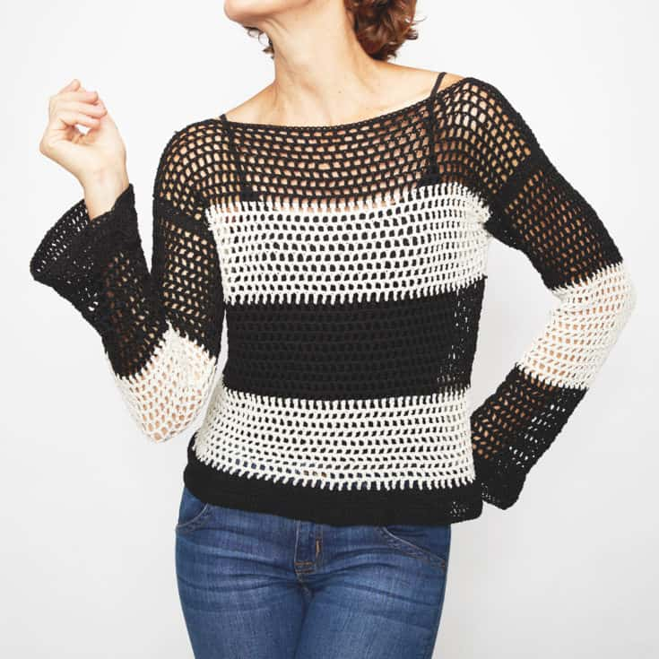 Monochrome Tie Sweater - These 16 super easy crochet sweater patterns are the best we've found. There's a good variety to choose from whether you like them light, cropped or with a classic look. #easycrochetsweaterpatters #easycrochetpatterns #crochetsweaters