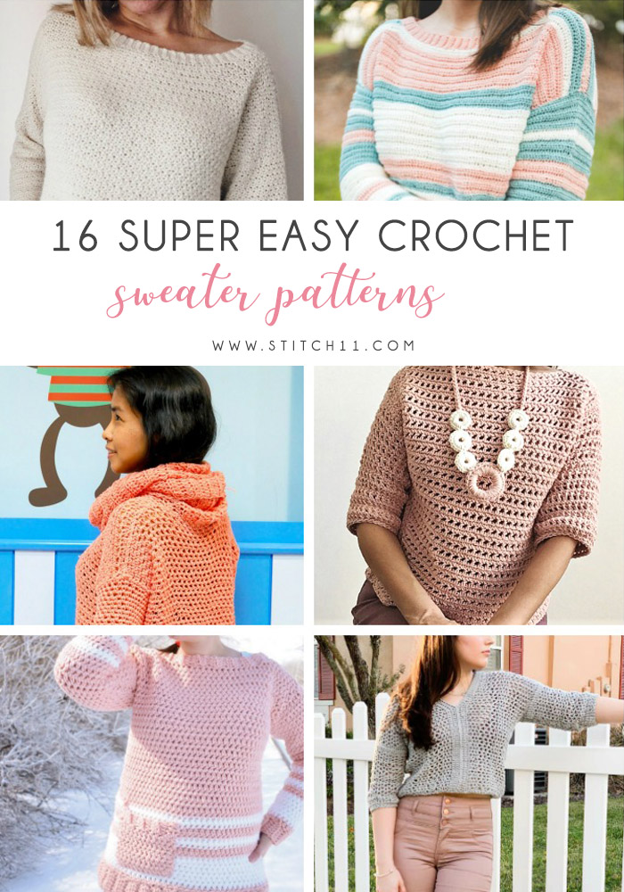 16 Super Easy Crochet Sweater Patterns - These 16 super easy crochet sweater patterns are the best we've found. There's a good variety to choose from whether you like them light, cropped or with a classic look. #easycrochetsweaterpatters #easycrochetpatterns #crochetsweaters