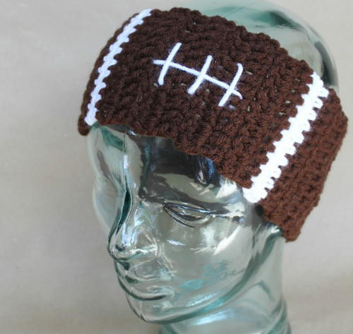 Football Ear Warmers - Check out these cute, versatile and functional crochet ear warmer patterns and get started on your stock before the cold sets in! #crochetearwarmerpatterns #crochetearwarmers #crochetpatterns