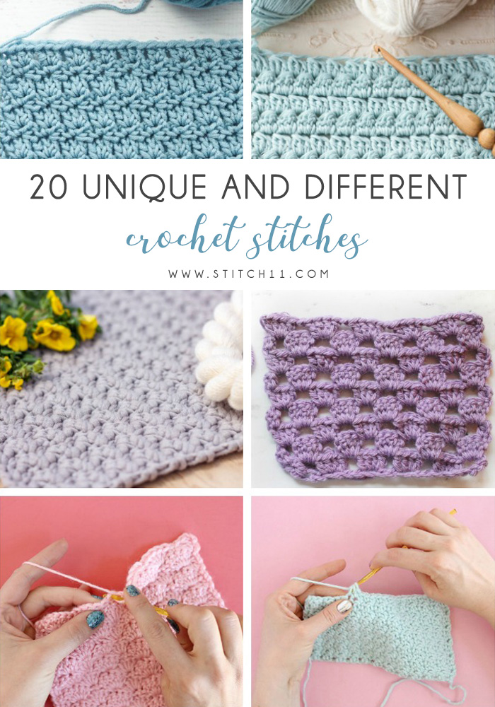 20 Unique and Different Crochet Stitches - These 20 unique crochet stitches may challenge you or even confound you for a moment, but tackling them and mastering them will be gratifying. #crochetstitches #uniquecrochetstitches
