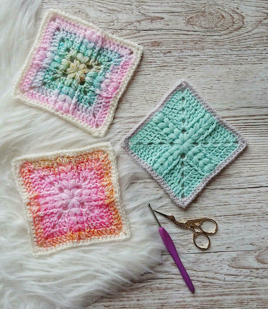 Puffs and Hugs Granny Square - If you're thinking of starting a crochet blanket and want to give it that extra touch of 'oomph' - using any of these crochet squares might be the thing you need! #crochetsquares #afghansquares #crochetpatterns
