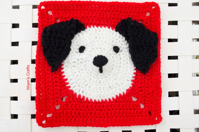 Puppy Granny Square - If you're thinking of starting a crochet blanket and want to give it that extra touch of 'oomph' - using any of these crochet squares might be the thing you need! #crochetsquares #afghansquares #crochetpatterns
