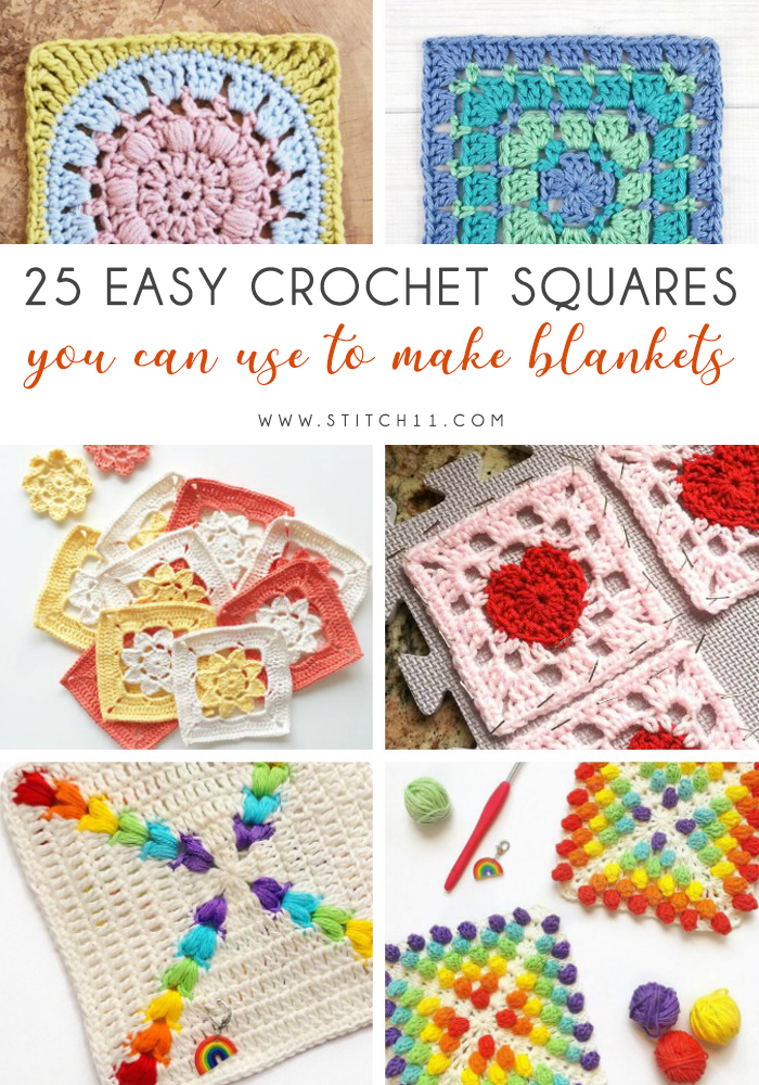 25 Easy Crochet Squares You Can Use To Make Blankets - If you're thinking of starting a crochet blanket and want to give it that extra touch of 'oomph' - using any of these crochet squares might be the thing you need! #crochetsquares #afghansquares #crochetpatterns